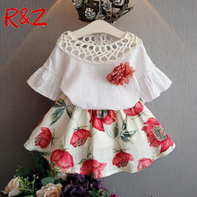 2017 Summer Fashion Girls Clothing Sets Kids Baby Wear Flower Tops + Dresses Children Simple Suits Clothes