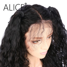 ALICE Deep Wave Pre Plucked Full Lace Human Hair Wigs For Black Women Brazilian Virgin Hair Natural Color Lace Wigs(China)