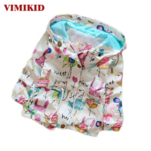 VIMIKID Spring&Autumn 2017 New Cotton Baby Girls Cardigan Coat Spend Three Flowers Lollipops Dot Jacket Kids Children Clothing(China)