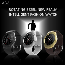 Rotating Bezel Clock Full Round Screen Smart Watch AS2 Bluetooth Smartwatch With Heart Rate Monitor For iOS Android PK G3 KW18(China)
