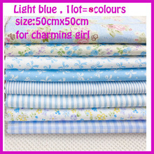 8pc Blue 50*50cm Remnant Cloth Fabric Cotton Fabric Charm Packs Patchwork Fabric Quilting Tilda Creative Design Toys Home Cloth