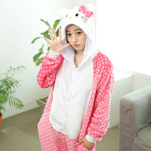 Cosplay Kitty Pajamas Adult Women Winter Flannel Kitty Cat Costume Pajamas Hooded Sleepwear(China)