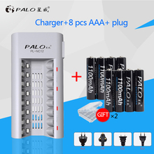 100% Original C808W 8 Slots Smart Intelligent Charger AA / AAA NiCd NiMh Rechargeable Battery +8pcs AAA batteries