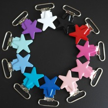 Wholesale 20 Pcs Enamel Star Shape Metal Baby Pacifier Clips Holders / Suspender Clips Dummy Clip(China)