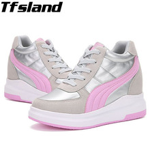 Buy Tfsland New Women Wedge High Heels Shoes Thick Soled High Top Shoes Female PU Leather Walking Shoes Hidden Heel Boots Sneakers for $27.77 in AliExpress store