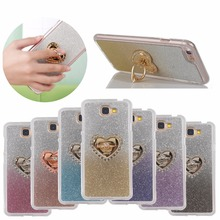 Fashion Bling Glitter Gradient color Ring buckl fundas IMD stand phone case For Samsung galaxy j2 Prime j5 Prime j7 Prime cover