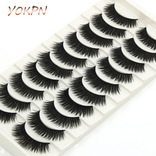 YOKPN Thick False Eyelashes Handmade Black Terrier Cross Exaggerated Eye Lashes Fashion Ball Smoke Makeup Fake Eyelashes 10 pair(China)