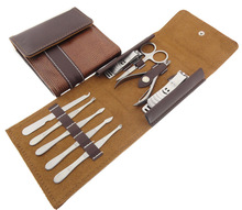 9pc Nail Care Manicure Set Tools with Finger Toenail Cuticle Clipper Earpick Scissor Leather Case(China)