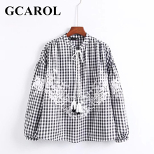 GCAROL England Style Embroiderd Floral Plad Blouse High Quality Lace Up Tops  New Arrival Black Vintage Female Shirt For Ladies