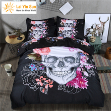 Lai Yin Sun Include Duvet cover Pillow cases 4pcs Parts Per Set Bed Sheet Set with Many Latest design Sugar Skull 3D Bedding Set