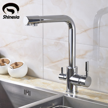 New Chrome Pure Water Kitchen Sink Faucet Swivel Spout Purification Mixer Tap With Purified Water outlet(China)