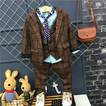 Children dress suits boys English small suit + vest + pants 3 sets Wedding Flower Boy Piano Performance Dresser