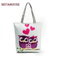 Miyahouse Cute Owl Printed Beach Bag Female Floral Canvas Casual Tote Ladies Shopping Bags Daily Use Single Shoulder Bag Bolsa(China)