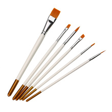 KiWarm 6pcs/lot Excellent White Nylon Wood Paint Brush Set Artists Acrylic Watercolor Painting Brush Round Flat Tip Drawing