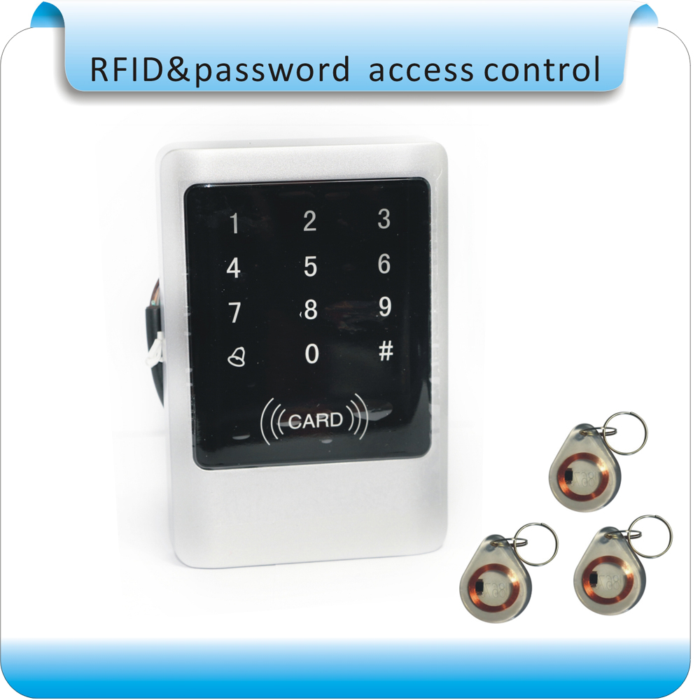 Free shipping Metal/ waterproof touch access controller RFID 125KHZ card access control system +10pcs cards<br>