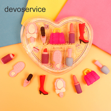 8Pcs/set Kawaii Cute Rubber Princess Makeup Eraser bag Lipstick Removable Rubbers Borracha Gomas De Borrar Girl Gift Stationery(China)