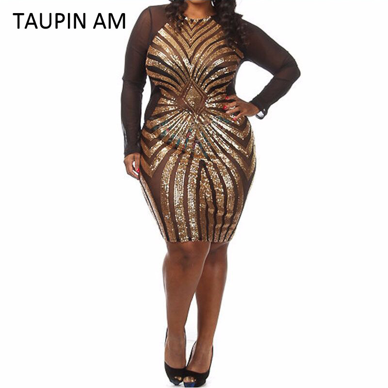 TAUPIN AM Plus size gold sequin dress black long sleeve mesh ...