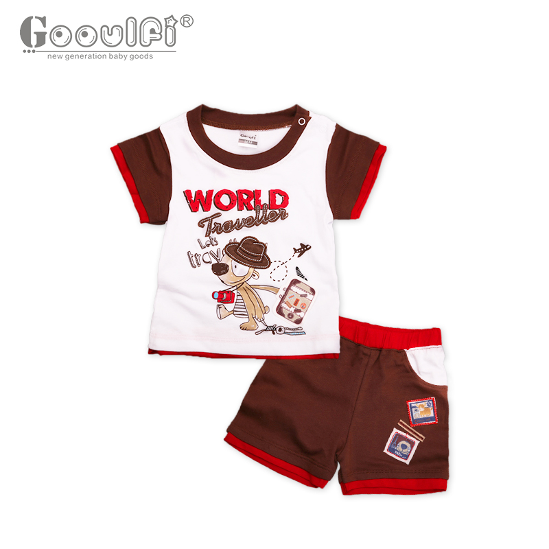 Gooulfi New Babys Sets Summer 4-6 Months Baby Boy Sets Clothes Animal Print Cute Cotton Short Regular Sleeve Baby Boy Clothing<br>