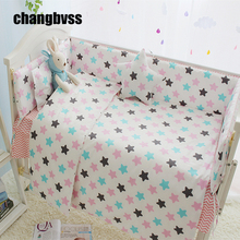 Colorful Star Baby Crib Bedding Set Cotton Comfortable Baby Bed Sets Bumper Babies Crib Bed Linen Newborn Kid Bedding Set(China)