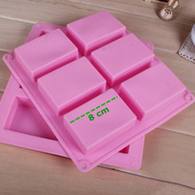 Wholesale 6-Cavity Plain rectangle pink Handmade soap mold decorative Silicone cake moulds