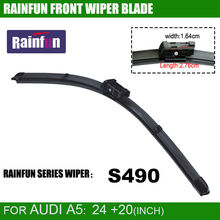 RAINFUN dedicated car wiper blade  for AUDI A5 &S5(08-), 24+20 inch hot sale Natural Rubber Car Wiper 2 PCS  in one box
