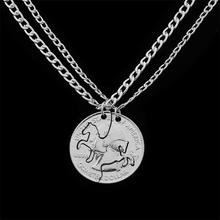 American Coin Necklaces Colar Vintage Cheap Costume Jewelry Bijoux 2016 Horse Pendant Couple Necklace Pendants for friends