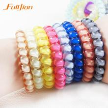 New 2017 women headdress head flower hair accessories hair ring hair rope candy-colored telephone wire Elastic Hair Band(China)