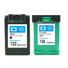 2Pcs For HP 132 136 Ink Cartridge For HP Officejet 6213 5443 D4163 Photosmart 2573 C3183 D5163 1513 Printer