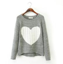 2017 New Fashion stylish Casual Slim Knitted Sweater Tops Women Heart Pattern Pullover Neck Long Sleeve Knitwear