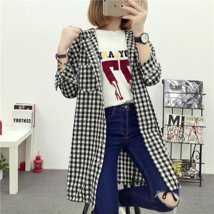 Brand Yan Qing Huan 2018 Spring Long Paragraph Large Size Plaid Shirt Fashion New Women's Casual Loose Long-sleeved Blouse Shirt 20 Online shopping Bangladesh