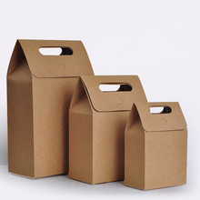 Brown Kraft Paper Bags Handle Pouches Bag Wedding Favors Candy Packaging Bags Gift Bags 100pcs/lot Free shipping(China)
