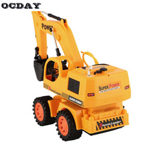 OCDAY Toys RC Excavator Charging RC Car With Battery Radio Remote Control Stunt Digger Model Engineering Vehicle Toy Car for Kid(China)