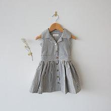 2017 New Toddler Kids Girls Cotton Striped Summer Sleeveless Clothes Pageant Party Wedding Dresses(China)