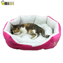 Umiwe Washable Soft Warm Paw Style Cat Dog Beds Nest Pad Mat Fleece Pets House Cat Puppy Dog Sofa Bed House With Cushion Mat(China)