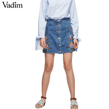 Women stylish flower embroidery denim skirt buttons faldas mujer European style ladies fashion A-line skirts BSQ533