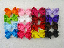 16pcs baby girl 3 inch solid hair bows clips Boutique grosgrain ribbon holiday bows hairbows kids girl 1397(China)
