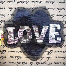 Free shipping women girl clothes letter Sequins black LOVE logo fashion embroidery patch for clothing patchwork fabric