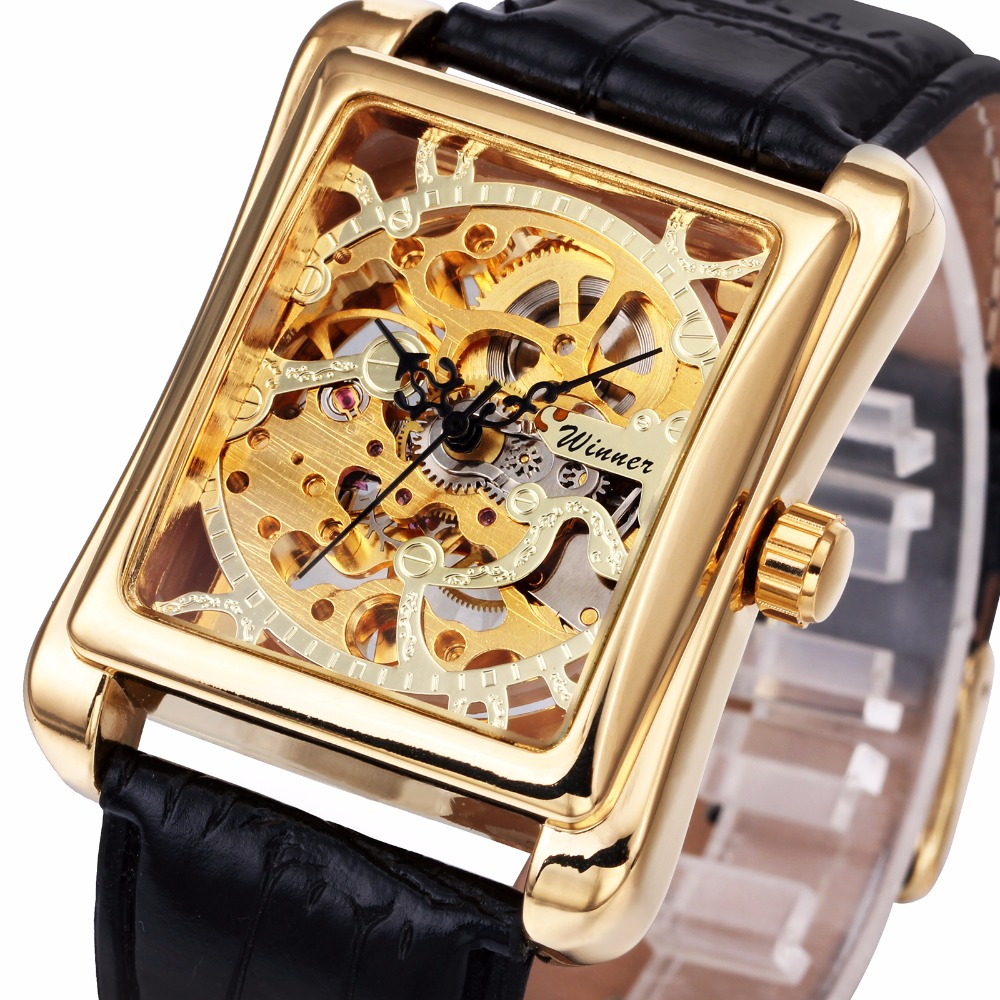 WINNER Men Luxury Mechanical Wrist Watch Leather Strap  Luxury Retro Brand Design Rectangular Case Skeleton Business Watches<br><br>Aliexpress