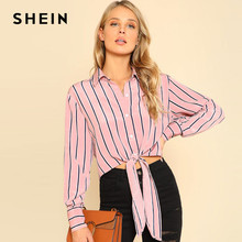 Buy SHEIN Pink Knot Front Crop Striped Blouse Shirt Long Sleeve Casual Womens Tops Blouses Design 2018 Spring Crop Shirt for $17.41 in AliExpress store