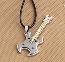 Fashion Necklace mens Stainless steel Ball Chain best selling men's steel guitar Pendant Necklace Bass Music Necklace N036