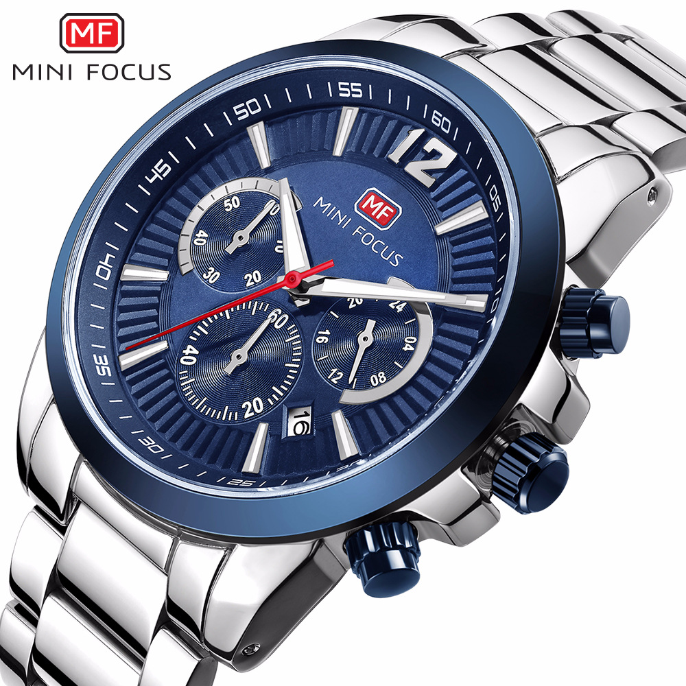MINI FOCUS brand mens stainless steel quartz wristwatches business man watches waterproof calendar black blue silver man clocks<br>