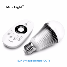 2.4G MiLight E27 9W Wireless Smart CW/WWLED Lamp Bulb + 2.4G RF CCT/DIM Remote Control For Good Reputation(China)