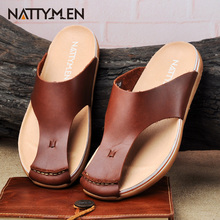 Nattymen leather cool slippers men's words drag tide summer beach shoes bag scalp slippers anti-skid men's slippers
