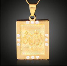 Fashion Gold color Muslim Allah Ayatul Kursi Quran copper crystal pendant & necklace charm Islam for man women Jewelry & gift