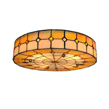 Tiffany Classic Style White & Orange Stained Glass Suspension Ceiling Lamp Mediterranean 3 Lights Flsh Mount Light Lighting C263