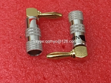 10pcs High Quality 90 Degree Angel 4mm Nakamichi Banana Plug For Video 24K Gold Plated Speaker Copper Adapter Audio Connector
