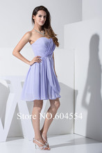 2015 Custom Made Vestidos De Noche Lavender Chiffon Simple Elegant  Mini Cocktail Dress Short Prom Dress