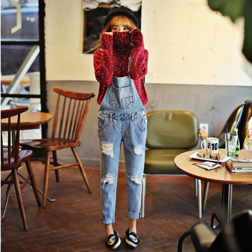 Autumn Winter New American Apparel Style Jeans For Women Slim Thin Denim Overalls Korean Women Ripped Bib Overalls Pants Одежда и ак�е��уары<br><br><br>Aliexpress