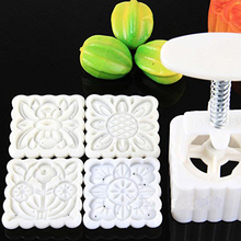 New Mooncake Moon Cake Square Mold Mould Flowers Plants 1set/4 Stamps Hot Sale