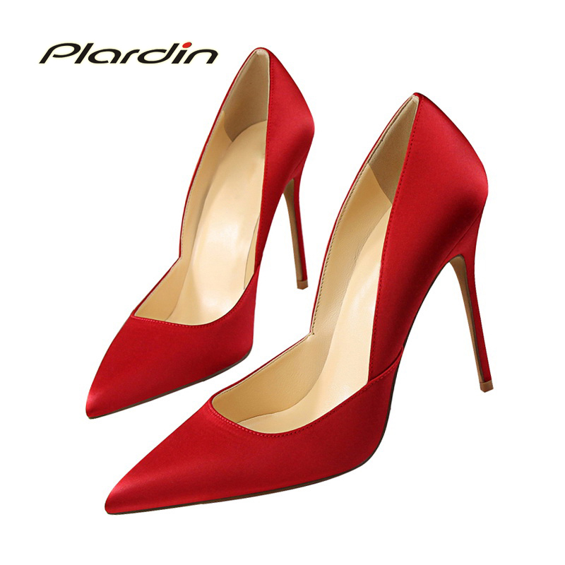 plardin 2018 Silk Shallow Sexy Women Party Wedding D'Orsay&wo-piece Shoes Woman Thin High Heel Pumps Four seasons ladies shoes